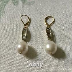 Art Deco Splendid Old Rings Pearl Doreilles, Topaze Vermeil Silver