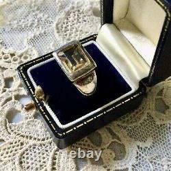 Art Deco Superb Ancient Tank Ring In Massive Silver And Beautiful Citrine