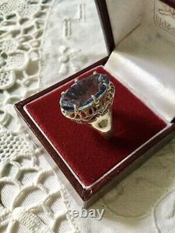 Art Deco Superb Old Ring Marquise Silver Massive Opened, Blue Topaz