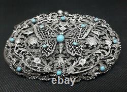 Aumoniere Ancienne Argent Massif Watermark Art Nouveau Butterfly Turquoise