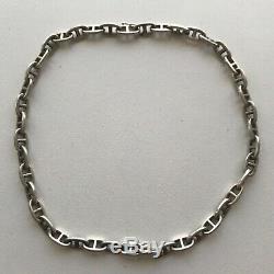 Authentic And Old Vintage Hermès Paris Silver Anchor Necklace Necklace