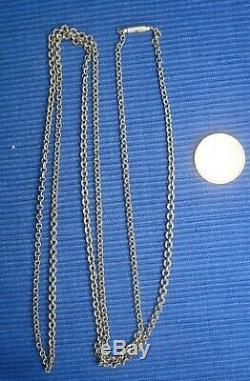 B23 Great Chain Necklace Old Boar Sterling Silver Mesh Jaseron Set Jewel