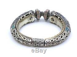 Bangle Old Vintage Sterling Silver Enameled Signed Chimera Head