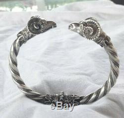 Beautiful Ancient Bracelet Head Of Rams Sterling Silver