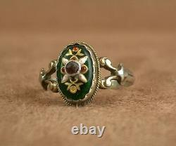 Beautiful Ancient Ring In Massive Silver And Bressans Emaux