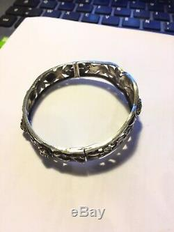 Beautiful Bangle Old Sterling Silver Roses 1900 Antique Victorian Silver Cuff