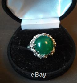 Beautiful Big Old Green Stone Cabochon Ring, Sterling Silver, 40s