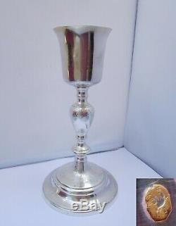 Beautiful Chalice Ancient Eighteenth Sterling Silver And Bronze