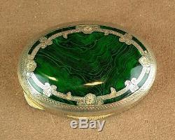Beautiful Old Box Silver Massif Email Imitating Malachite