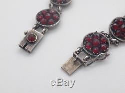 Beautiful Old Bracelet In Sterling Silver And Garnets