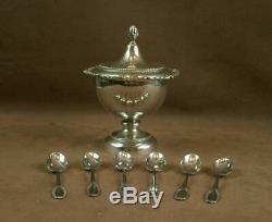 Beautiful Old Confiturier In Sterling Silver And Its 6 Spoons