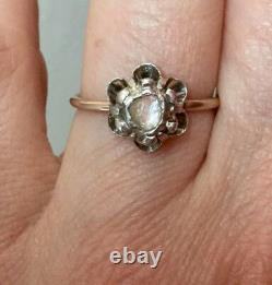 Beautiful Old Diamond Big Ring In Rose, Gold, Silver, To See