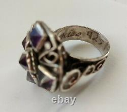 Beautiful Old Ring 1940 Matl Matilde Poulat Mexico Silver 925 Massive Amethyst