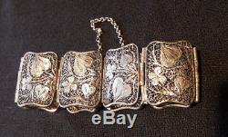Beautiful Old Solid Silver Bracelet, Ornate Art Nouveau Decor, 1900