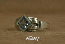 Beautiful Old Tank Ring Art Deco Silver Set With One Bluestone