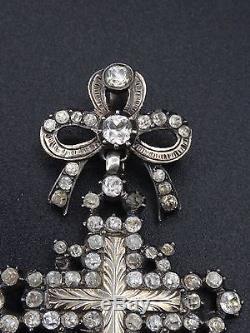Beautiful Old Yvetot Cross Sterling Silver Gold Rhine Stone Normandy Nineteenth