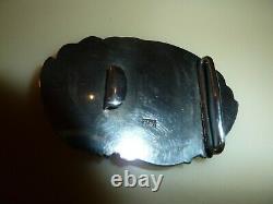 Belt Buckle- Asian Silver-superb Old Work Decor Birds Em