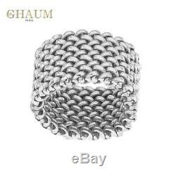 Big Old Style Silver Ring White Gold Rhodium 14g Shaped Mesh