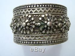 Bracelet Ancient Nineteenth Oeilde Cameleon Berber Silver Massive 114 G