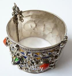 Bracelet Ethnic Silver + Enamel Maghreb Old Algeria 124 G Silver Bracelet