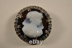 Brooch Ancient Gold Massif 18k Silver Camee Cornaline Diamonds Antique Cameo Brooch