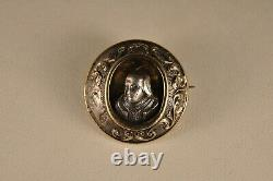 Brooch Ancient Silver Gold Massive Antique Solid Silver Gold Brooch