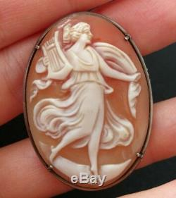 Cameo Brooch Ancient Muse In Shell In Sterling Silver