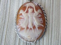 Cameo Pendant-old-coquille- Nymphs-jewelry-925 Sterling Silver / Silver