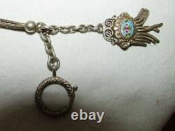 Chain De Montre Chatelaine Ancienne Emales Peints Argent Massif 19th Century