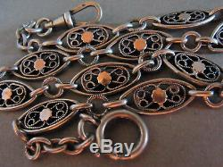 Chain watch Old Silver & Gold Hallmark Portable With Necklace