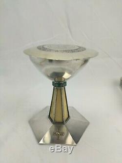 Chalice Paten Old Solid Silver Gilt Art Deco Cabochon Malachite And Bones
