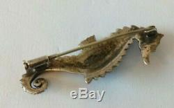 Charles Forgelot Old Seahorse Brooch Zoomorph Sterling Silver Art Deco