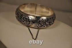 Chinese Bracelet Ancient Silver Massive Antique Chinese Solid Silver Bangle