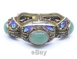 Chinese Jade Bracelet Antique Silver Gilt And Enamel Epoque 1940