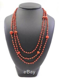 Collier Old Coral Beads 3 Rows Of Red Mounted On Massive Money XIX