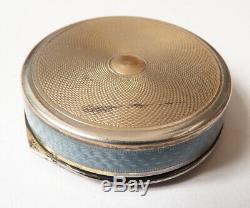 Compact Box Former Solid Silver + Enamel Circa 1920 Silver Enamel Box