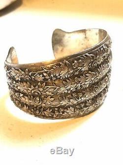 Cuff Bracelet Silver Old 19th Antique Victorian Silver Cuff Bracelet