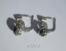Earring Stud Earring Trembleuses Old Onyx Faceted Sterling Silver