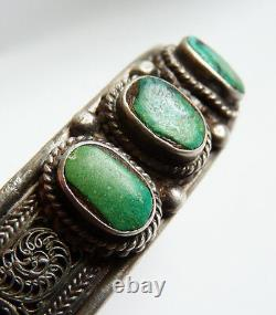 Ethnic Bracelet Solid Silver And Turquoise Silver Bracelet Ancient Jewel
