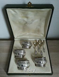 Former Box Salerons 4 + 4 Spoons Silver Gilt Mo Victor Leneuf