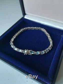 Former Bracelet 925 Sterling Silver And Aquamarine Size 26 18 CM