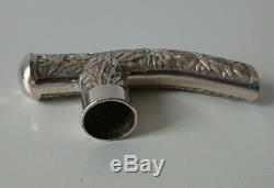 Former Head Cane Sunshade Umbrella Handle Old Chinese Silver Cane Knob