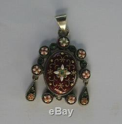 Former Late 19th Enamel Pendant Silver Jewelry Bressans Bresse Regional Bresse