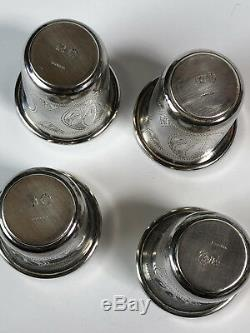 Four Cups Liquor Old Russian Silver (84) Each Weight 20 Grams