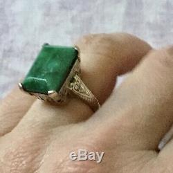 Great Old Silver Ring Masif Book And Emerald Veritable