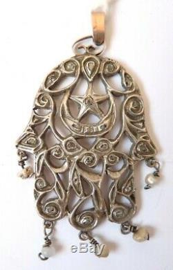 Hand Of Fatma In Gold + Silver + Diamonds Antique Jewel Tunisia Gold Diamonds