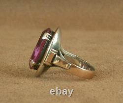 Important Ancient Ring Silver Massive And Gold 18k Poincon Mixed Pierre Violette