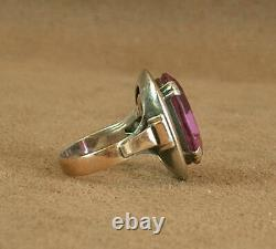 Important Old Ring Sterling Silver And 18k Gold Mixed Poincon Pierre Violette