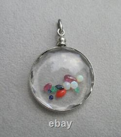 Important Pendant Holder Photo Locket Old Faceted Stones Silver Solid