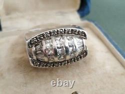 Jewel Old Art Deco Silver Ring Tank